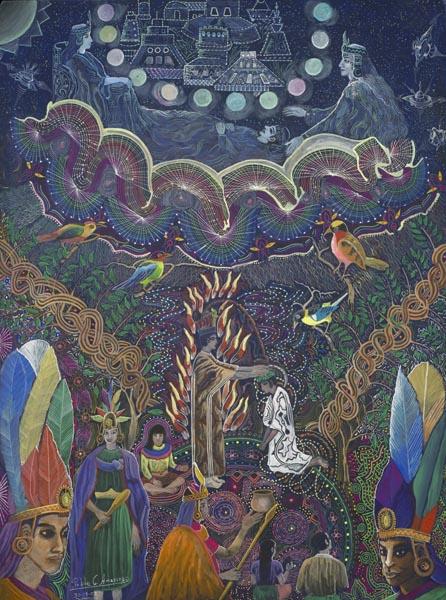 Vision sous plante psychoactive par le chamane Pablo Amaringo