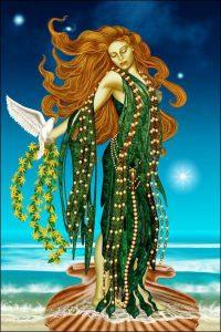 Aphrodite émergeant des flots suite à la castration d'Ouranos