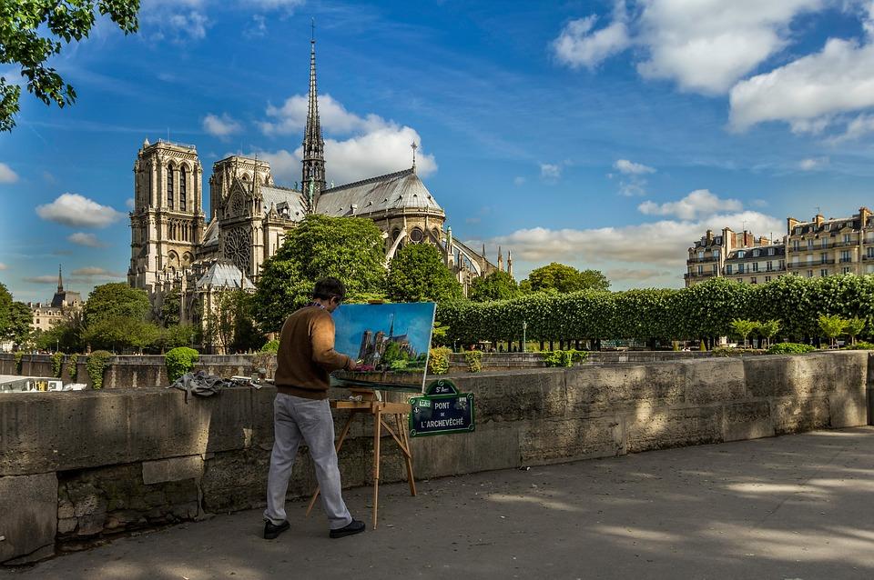 Le peintre et la cathédrale Notre-Dame de Paris