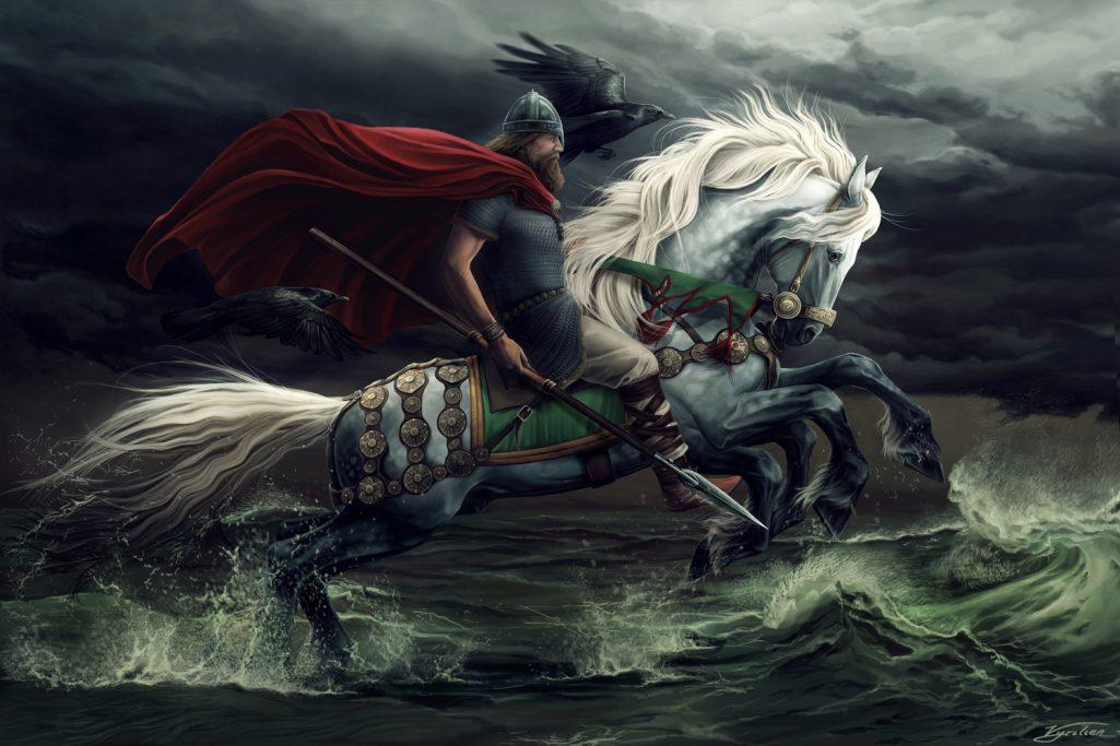 Odin-Wotan, Sleipnir, Hunin et Munin