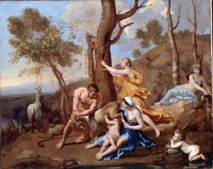 La chève Amalthée nourrit Zeus enfant