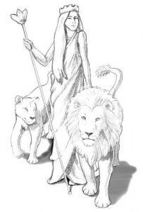 Rhéa accompagnée de sa lionne et de son lion