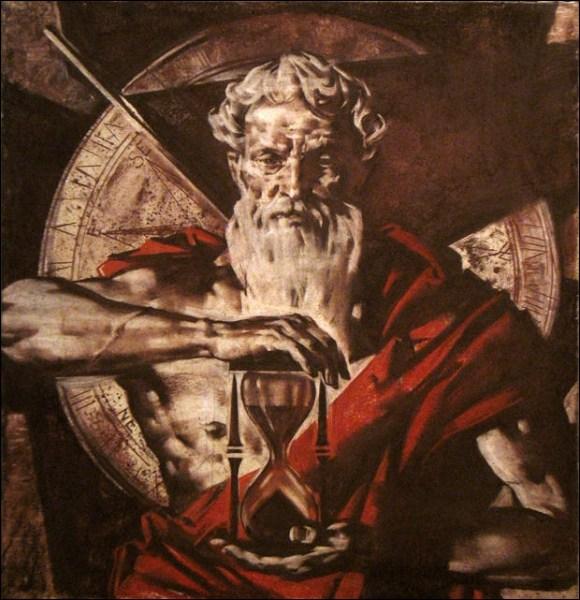 Saturne, dieu du temps, à la faux et au sablier