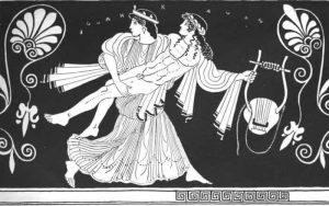 L'enlèvement de Tithonos par Éos, fille de Théia et d'Hyperion